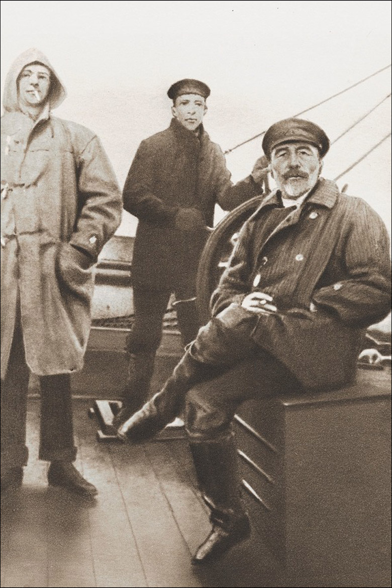 Joseph Conrad on board ship with two younger men