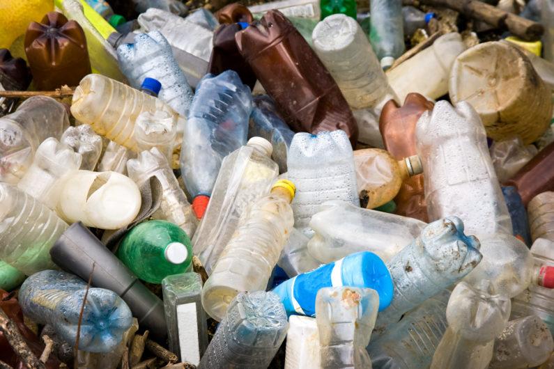 Pile of discarded plastic PET bottles