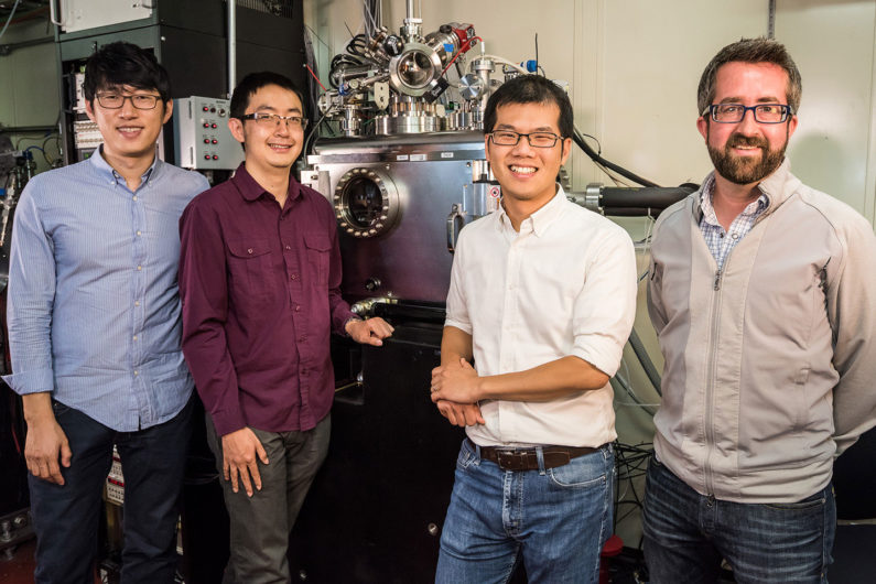 Jongwoo Lim, Yiyang Li, and William Chueh of Stanford and SLAC National Accelerator Laboratory and David Shapiro of Lawrence Berkeley National Laboratory stand in front of the X-ray microscope at the Advanced Light Source.