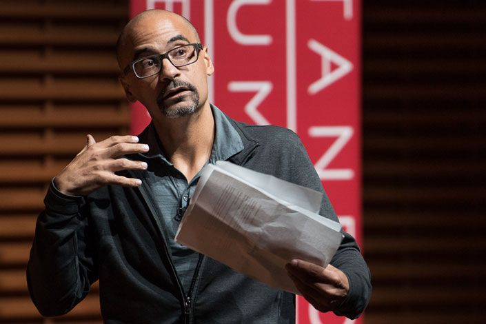 Junot Diaz delivering Presidential Lecture in the Humanities and Arts May 24, 2017