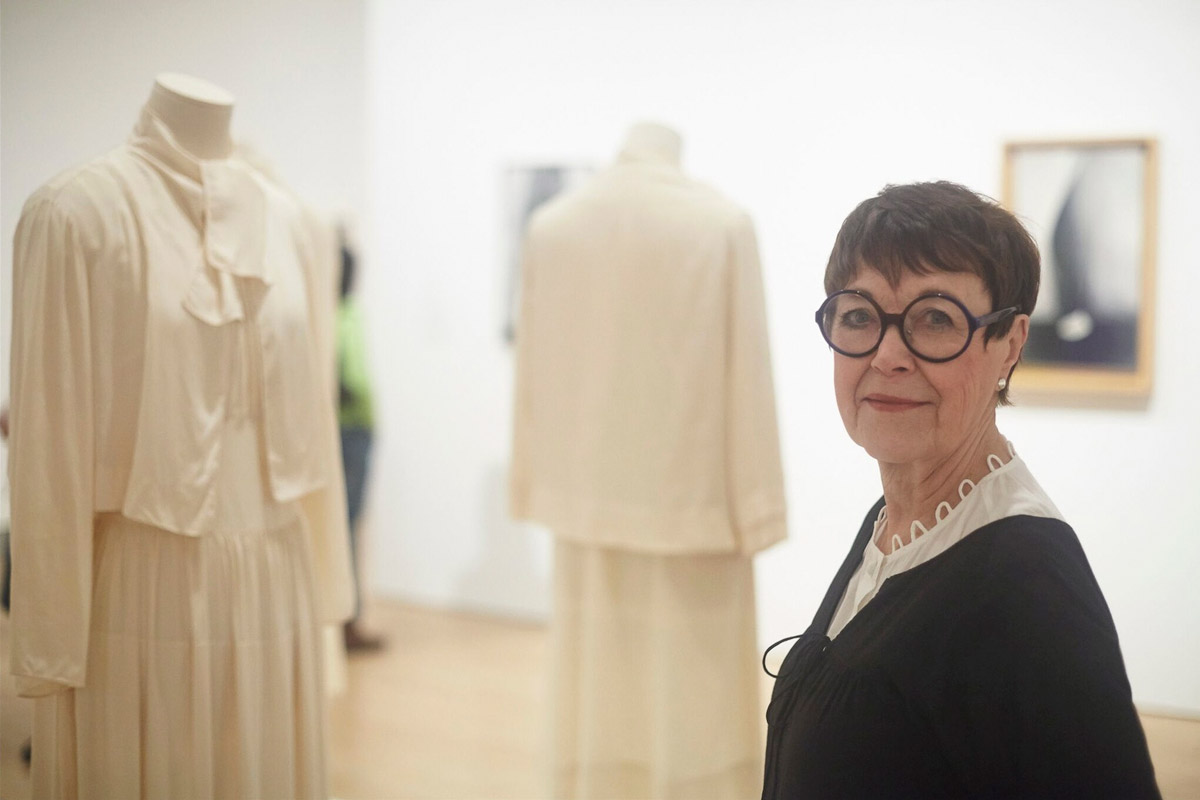 "Professor Emerita Wanda Corn at the ""Georgia O'Keeffe: Living Modern"" exhibition at the Brooklyn Museum"