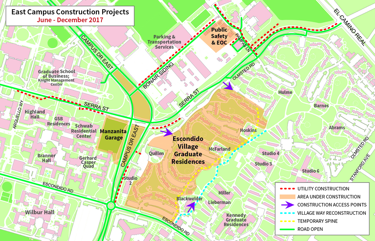 map of East Campus Construction Projects, June-December 2017
