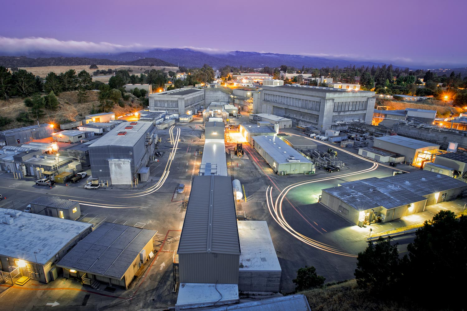 SLAC's research yard at dawn, seen from the radio tower overlook.