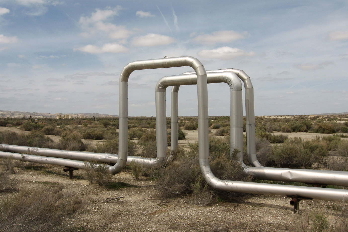 Steam lines from an enhanced oil recovery project in California