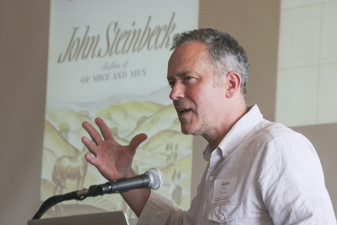 Gavin Jones, professor of English, at a symposium on John Steinbeck hosted by Stanford's Bill Lane Center for the American West.