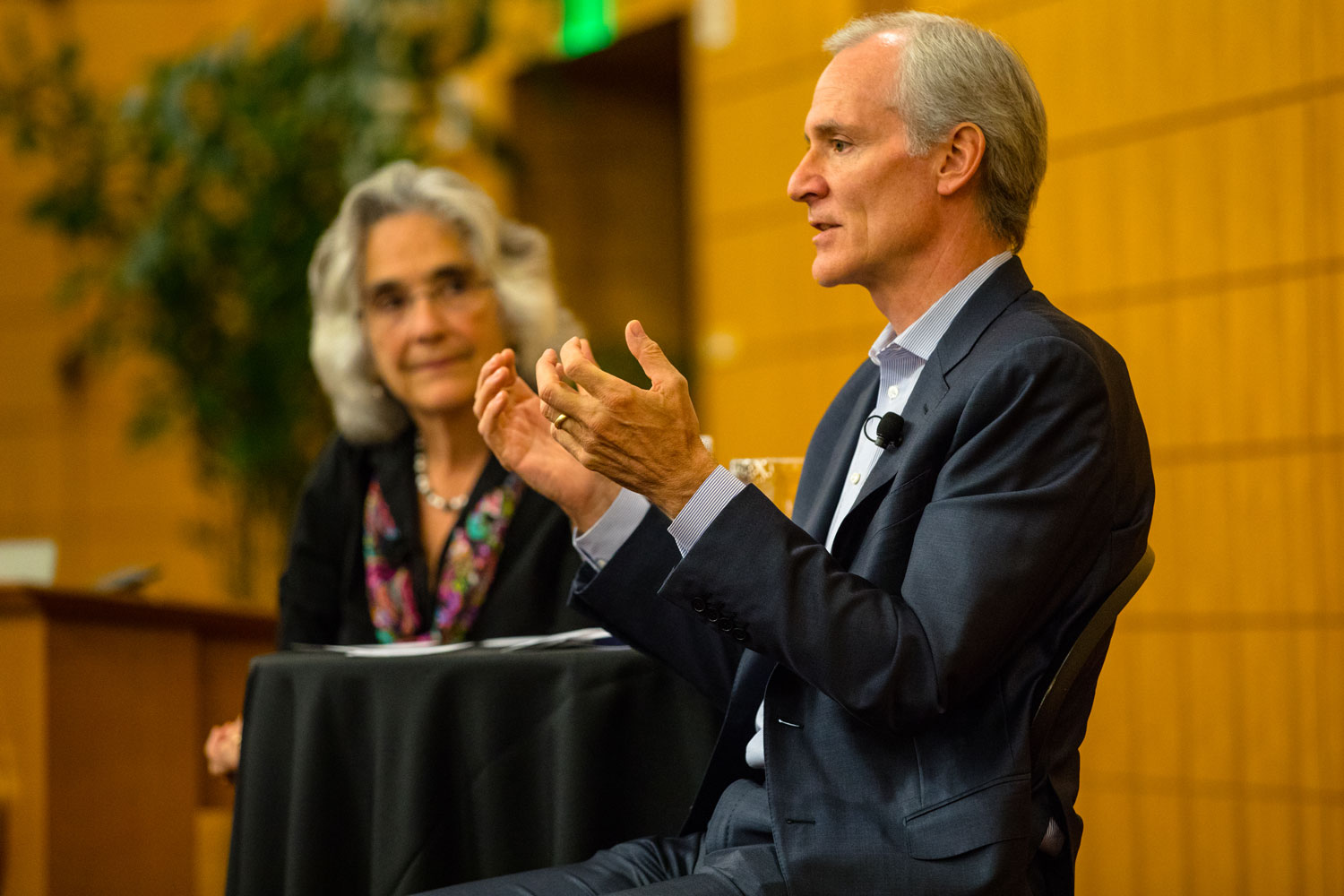 Persis Drell and Marc Tessier-Lavigne at Q&A with Stanford community on Oct. 4, 2017