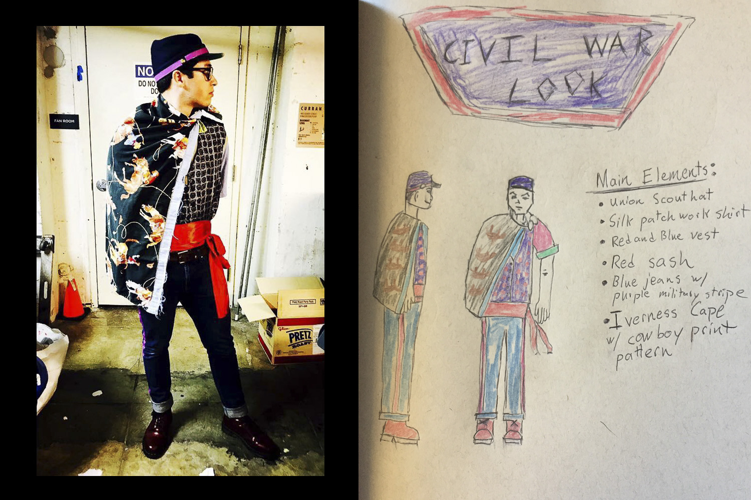 Undergraduate Sam Sagan with his sketch and finished costume inspired by military uniforms of the Civil War.
