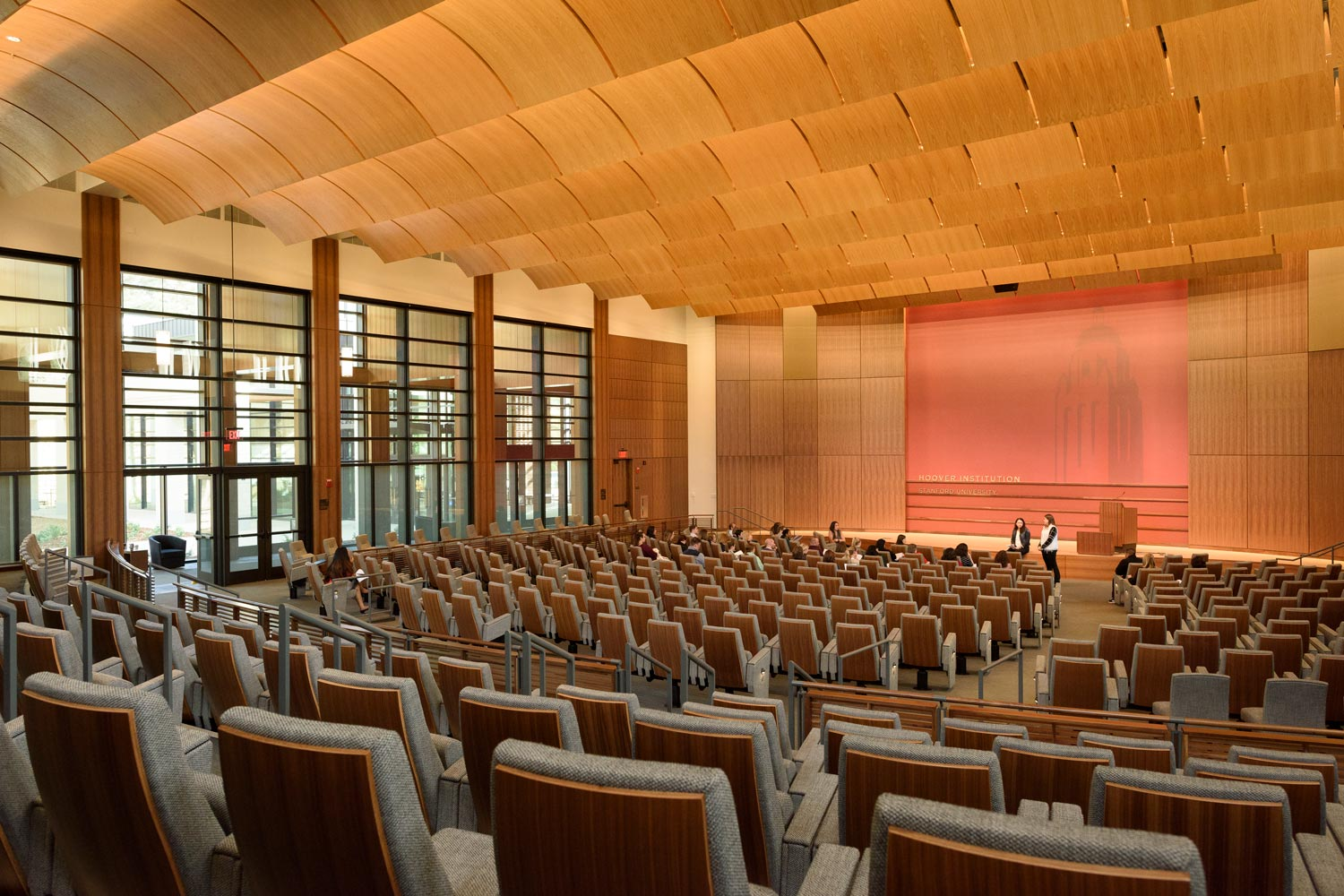 interior view auditorium in the Hoover Institution's Traitel Building