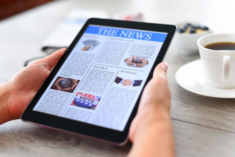 Tablet with news stories