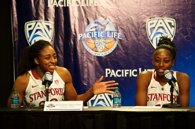 Nnemkadi Ogwumike (left) and Chiney Ogwumike during the press conference following the semi-final game of the 2011 Pac-10 Tournament game against the Arizona Wildcats at Staples Center last Saturday. Stanford won, 100-71.