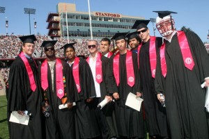 Stanford Football players Ben Muth, Anthony Kimble, Pat Maynor, Alex Fletcher, Aaron Zagory, Thaddeus Chase Jr., and Gustav Rydstedt at the 2008 Commencement