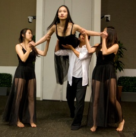 Stanford medical students perform a dance during the Medicine and the Muse event earlier this month, (Photos by Norbert von der Groeben)