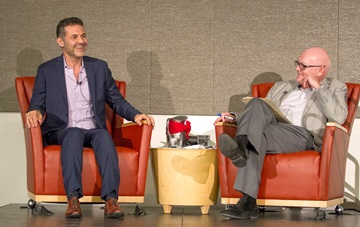 Author Khaled Hosseini is interviewed by Paul Costello, chief communications officer for the Stanford School of Medicine. (Photo by Norbert von der Groeben)