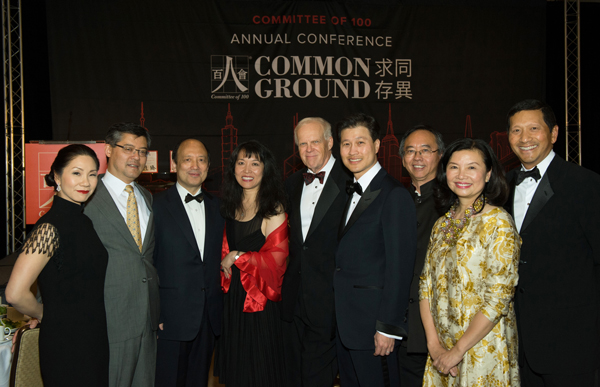 Stanford University President John Hennessy (center) during the Committee of 100 gala in San Francisco