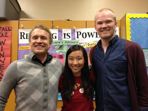 Irene Kim, David Hansen and Kyle Svingen of Oakland International High School in Oakland.