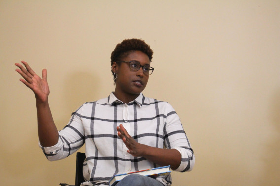 Photo of Issa Rae gesturing with her hands.