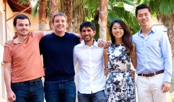Five students from the  Stanford Graduate School of Business have been named Siebel Scholars. From left: Michael Mester, Dorian Bertsch, Ibrahim Alsuwaidi, Sarah Wang and Michael Ding. (Photo credit: Chuck Goodman)