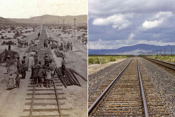 Historic photo of workers on railroad and contemporary photo with no workers