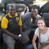 Hilary Chart with businessmen in Botswana