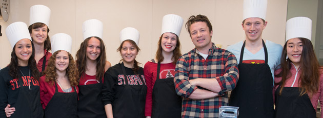 Chef Jamie Oliver with Stanford students