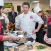 Chef Jamie Oliver in Stanford kitchen with staff and students /  L.A. Cicero