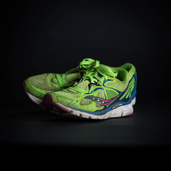 Green running shoes