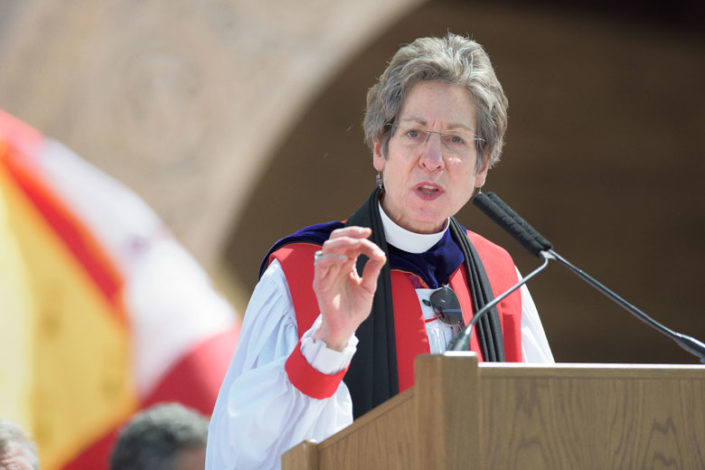 The Most Rev. Dr. Katharine Jefferts Schori gives her address at Stanford University's 2016 Baccalaureate celebration