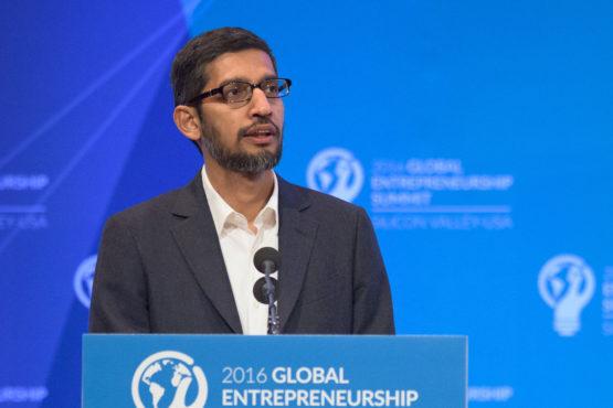 Google CEO Sundar Pichai at the lectern in Memorial Auditorium