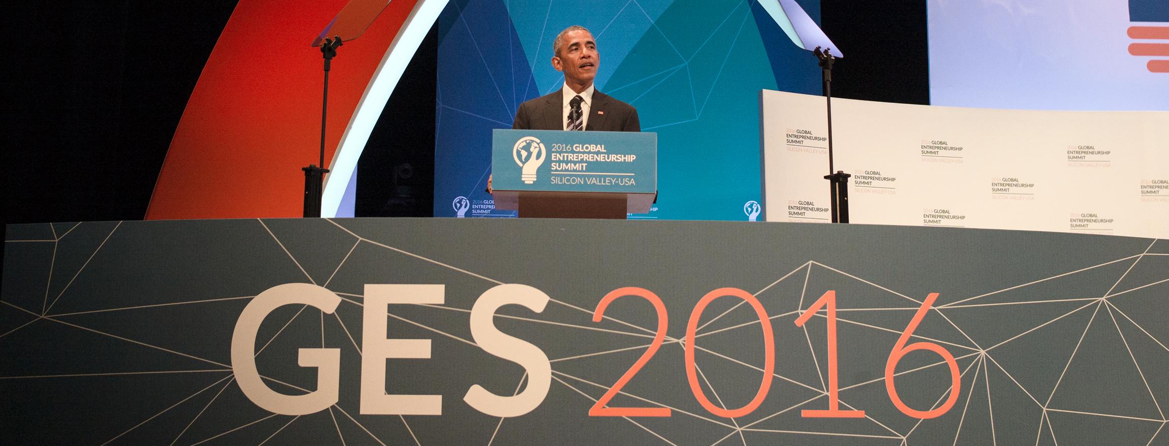 President Barack Obama at the podium
