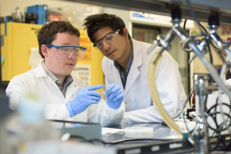 Stanford researchers Greg Pitner and Matt Abramian finalize sample preparation in the Neurofab, mounting the cell culture vessel to the suspended CNT wafer.