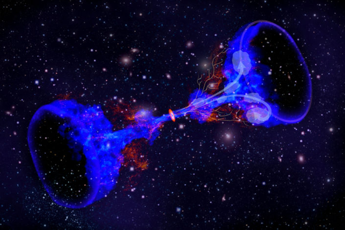 Galaxy cluster with black holes