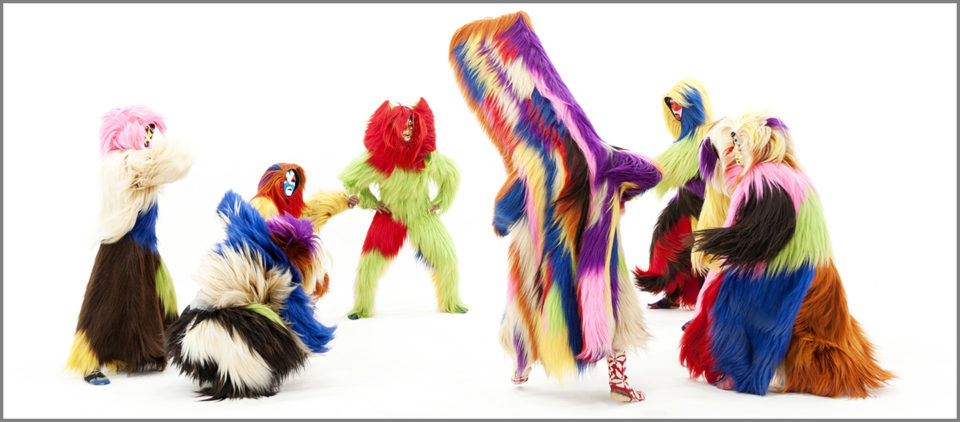 People in furry suits. Nick Cave, Drive By, 2011, Blu-ray disc, 16 minutes, Ed. 4/5, 1 AP, Collection of Mary Patricia Anderson Pence. © Nick Cave.