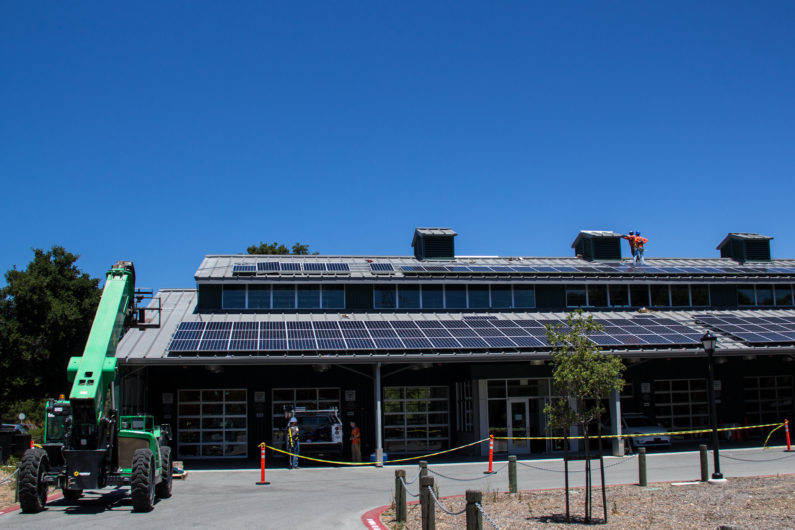 Solar panels being installed on Automotive Innovation Facility