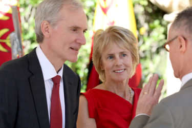 Close-up of Marc Tessier-Lavigne and Mary Hynes.