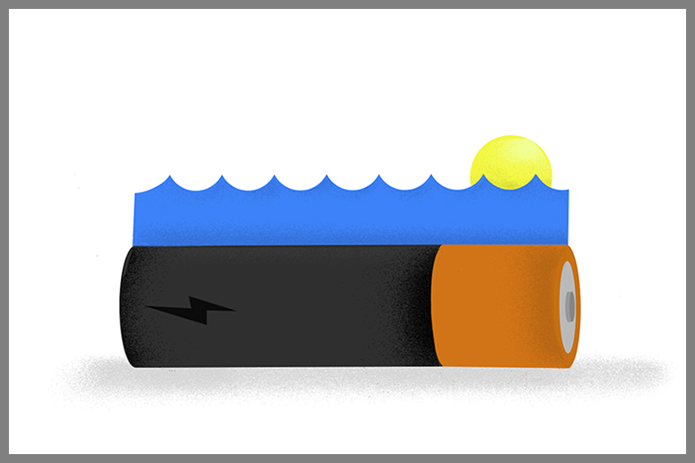 illustration of a battery with water and sunshine