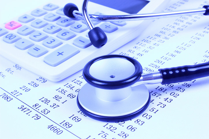 Expense sheets and stethoscope