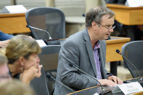 Peter Michelson speaking at the senate meeting.