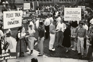 Students protest nuclear tests, 1958
