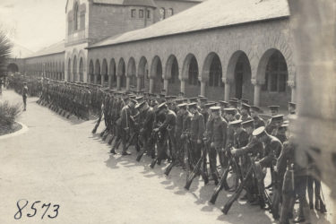 Student Army Training Corps performing drills in the Quad during the World War I
