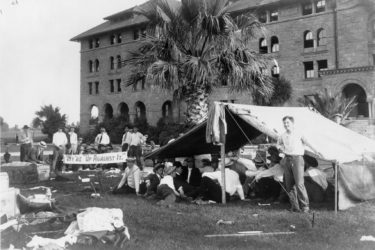 Encina Hall residents camp outside following 1906 San Francisco Earthquake
