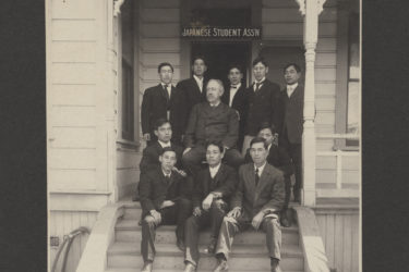 David Starr Jordan, the university's first president, with members of the Japanese Students Association, 1905