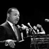 Martin Luther King Jr. at lectern in Stanford's Memorial Auditorium, April 14, 1967