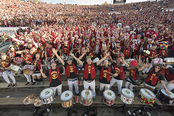 The Stanford marching band poses for a photo at the Rose Bowl Game.