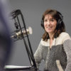 Education lecturer Denise Pope at the mic in the radio studio