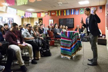 Professor Thomas Jaramillo at El Centro Chicano y Latino.