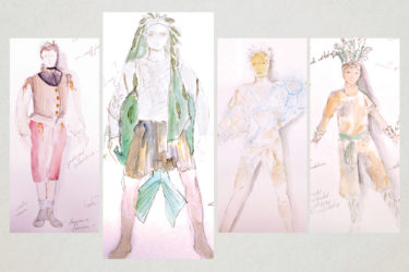 costume design sketches for production of Shakespeare's The Tempest