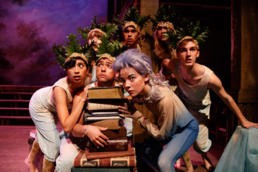 In a production of Shakespeare's The Tempest, Ariel is performed by Lea Zawada and the island spirits are played by Susi Arguello, Isaac Goldstein, Brenna McCulloch, Elias Mooring, Sarah Mergen and Anatole Schneider.