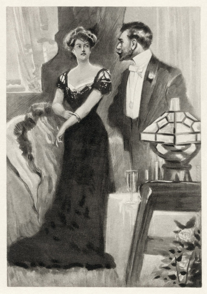 Sketch of Victorian couple