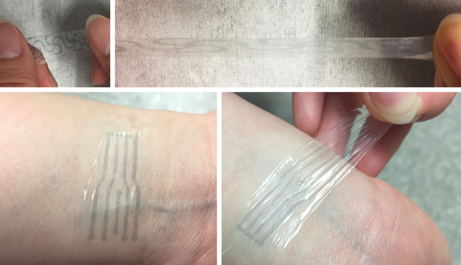 "A printed electrode pattern of the new polymer being stretched to several times of its original length (top), and a transparent, highly stretchy ""electronic skin"" patch forming an intimate interface with the human skin to potentially measure various biomarkers (bottom)."