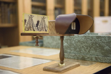 A stereopticon viewer is available in Special Collections to enjoy the stereo views that are part of the sequoia collection.